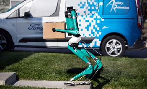 A Ford robot completes a delivery.