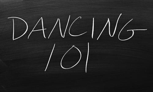 """Chalkboard that reads """"dancing 101"""""""
