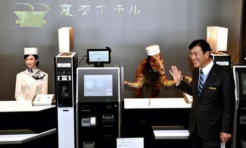 A hotel in Japan replaced its front desk staff with robots.