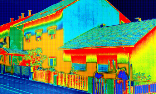 Thermal photo of a house