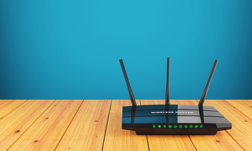 A network router sitting on a table