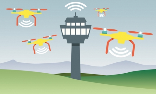 An illustration showing multiple drones reporting to a single control tower.