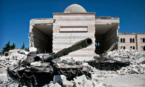 destroyed tanks and mosque, Azaz, Syria