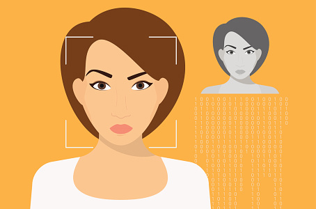 Illustration of woman's face scanned using face recognition