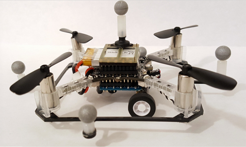 Quadrocopter drone with wheels