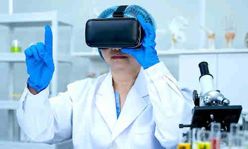 A researchers wearing a virtual-reality headset.