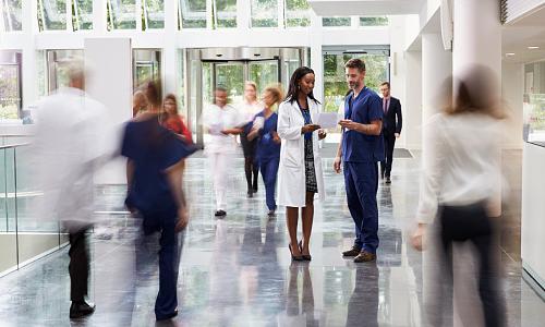 Staff in a modern hospital