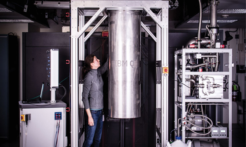 large tank holding cooling system for IBM's  17-qubit processor