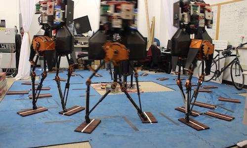 three bipedal robots