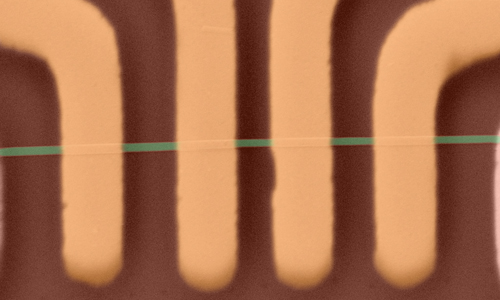 Microscopy image of an electronic device made with 1D ZrTe3 nanoribbons