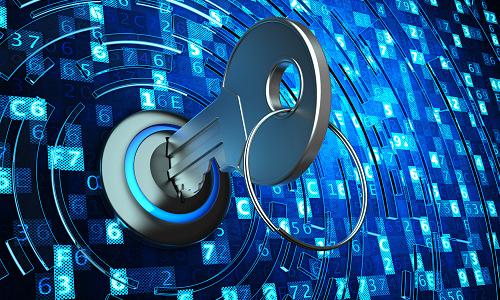 Metallic key in keyhole on blue digital code background