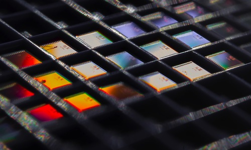 An array of the temperature sensor chips