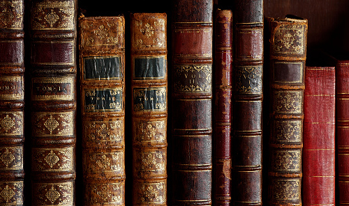Row of old books