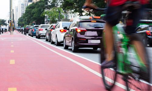 bike and cars