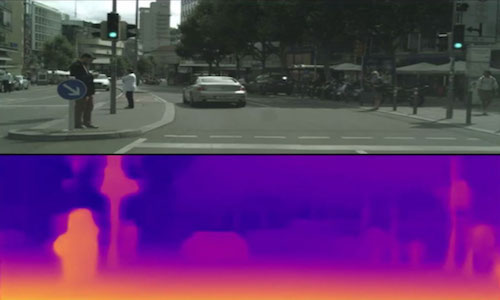 A photo of a crosswalk showing how new software can measure distance.