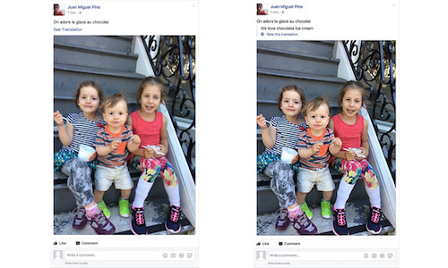 Two versions of a Facebook post