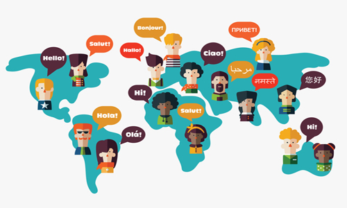 Set of social people on World map with speech bubbles in different languages.