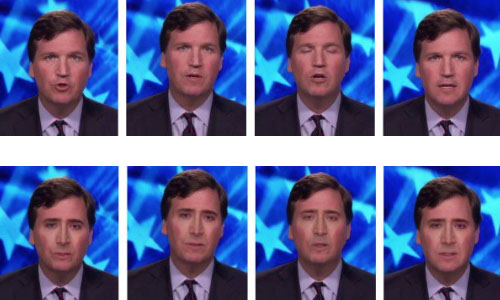 News anchor Tucker Carlson's face being replaced by Nicholas Cage's face