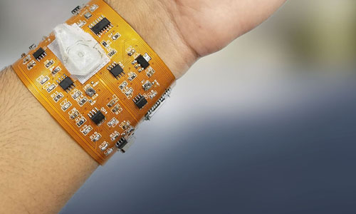 Prototype of wristband developed by Rutgers engineers