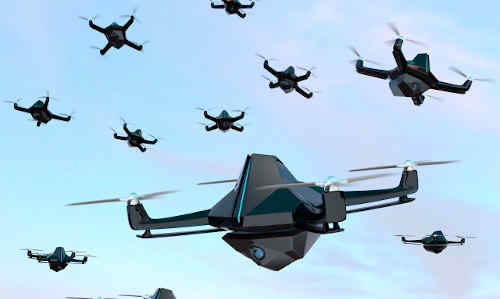 A small swarm of aerial drones.