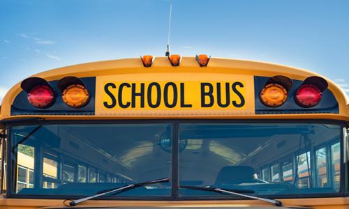 Windshield of a school bus