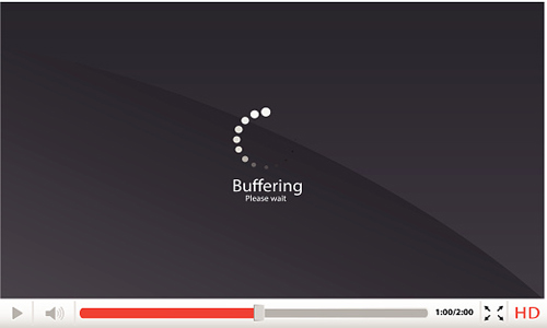 Video player with 'buffering' message