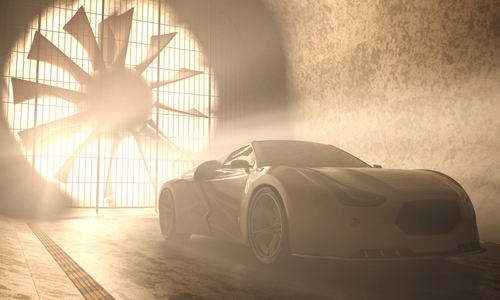 concept car in a wind tunnel