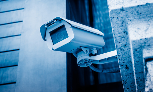A CCTV camera mounted on a wall