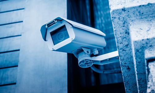A CCTV camera mounted on a wall