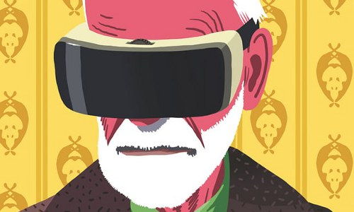 Freud with VR headset, illustration