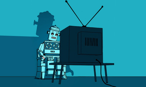 robot watching TV