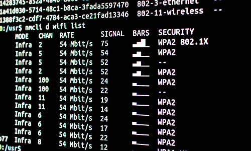 Scanning wifi networks available with security level and signal strength