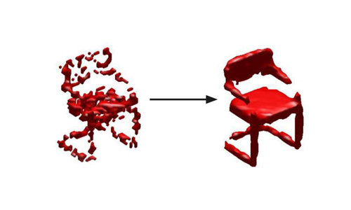 A digital image of a chair, created from a 3d model