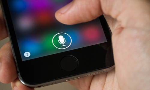 Iphone with Siri application in use