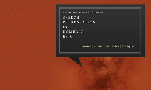 Home page for the 'speech presentation in homeric epic' site