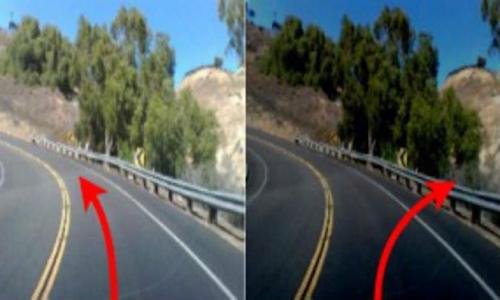 A photo showing two sides of a road, with an arrow pointing for the car to turn into the guardrail.