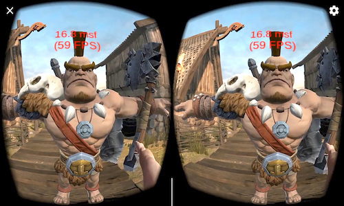An image from the VR game Viking Village