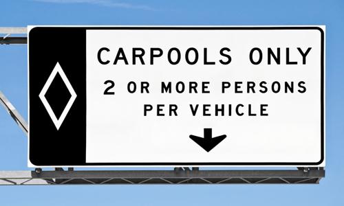 Road sign for carpool lane