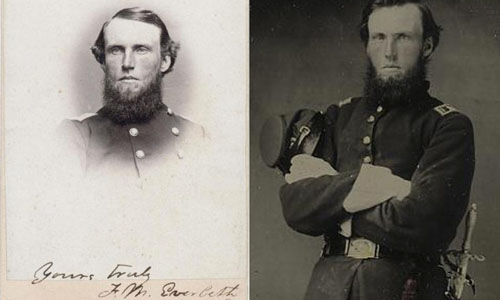 Image on the left as a reference to identify the man in photo on the right as Francis Marion Eveleth
