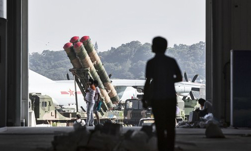 A surface-to-air missile is seen through a doorway in Zhuhai, China.