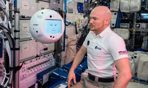 The spacefaring robot CIMON spoke with German ESA astronaut