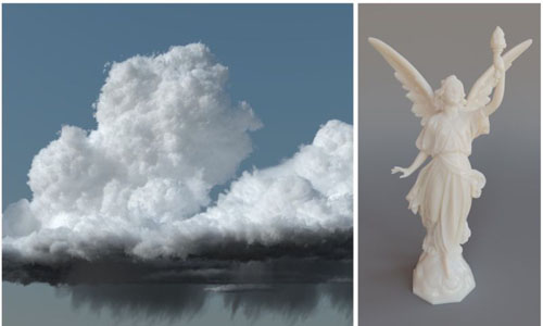 Clouds on the left and a statue on the right