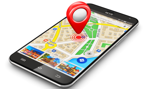 Map on smartphone with location icon