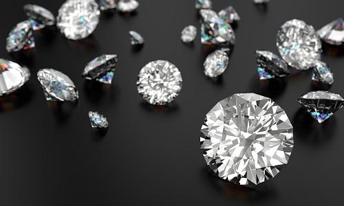 Cut diamonds on a black background