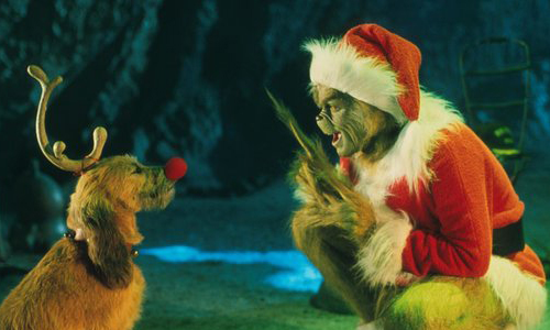 Still from The Grinch film with actor Jim Carrey
