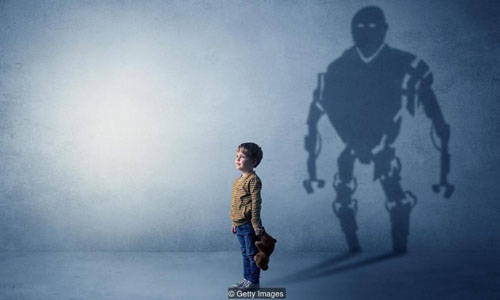 A child holding a teddy bear and a shadow of a robot behind him