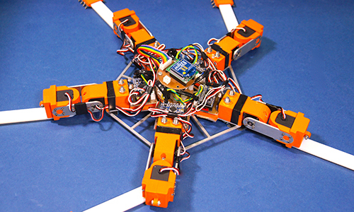 The brittle star robot built by researchers at Tohoku and Hokkaido universities in Japan