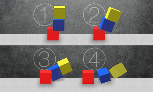 Four images of colored blocks falling, a part of MIT's neural network test