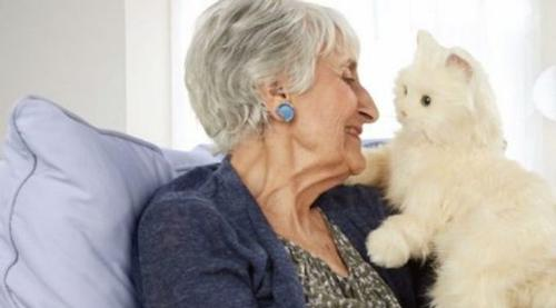 A photo of a elderly woman holding a robo-cat.
