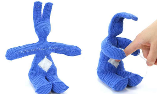 A knitted rabbit